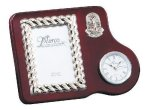 Mahogany Photo Frame With Clock Employee Awards