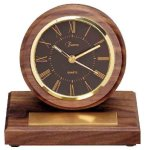 American Walnut Round Clock with Pen Employee Awards