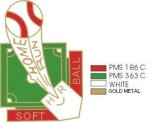 Softball Home Run pin - 1.25 Little League Recognition pins