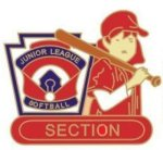 Junior League Softball Section pin - 1.25 L.L. Softball Tournament pins